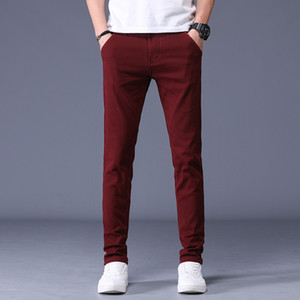 6-color Men's 98% Cotton Business Casual Pants 2020 New Elastic Waist Slim fit Trousers Male Brand Clothes Full Length