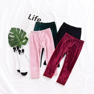Baby girls Gold velvet pants INS Leggings children Trousers 2020 new fashion Tights kids Boutique Clothing C3647