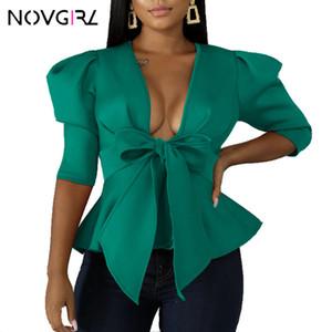 Novgirl manches bouffantes Bow Tie taille Bandage Blouse Chemises Femmes Automne 2019 Flare Volants Tops Office Lady Workwear Chemisier élégant