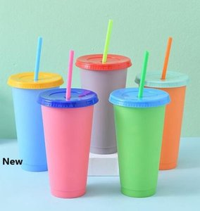 Colorful Change Cups Plastic Temperature Colorful Cold Water Color Changing Coffee Cup Mug Water Bottles With Straws Set cups FFA4130