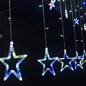 Занавес гирлянды, 110V 220V Струнный Star Lights 8.2ft 12 Звезда 138 LED Starry Сказочных огней для свадьбы, для спальни, Рождество, партий, Рождество