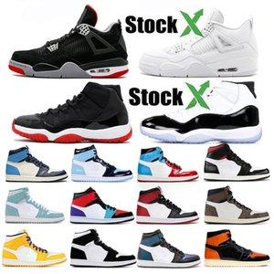 11 Bred Chat noir 4 4s de basket-ball Chaussures Hommes Femmes Blanc Ciment Ailes Encore Singles Red Fire Designer Sneakers IV Formateurs argent pur