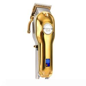 En Yeni All-Metal Tasarımcı Barber Saç Kesme Elektrikli Şarjlı LCD Profesyonel Saç Kesme Altın Gümüş Saç Makinesi KM-1986 1987 Kesme
