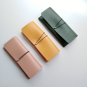 100% el işi basit tasarım PU deri boy sunglass kadife astar ile yumuşak kılıfı slip-in durumda gözlük çantası kutusu