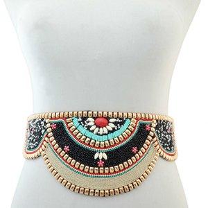 Charms Bohemia étnicas Resina contas elástico Strech ajustável Festival Belt Partido indiano da dança de barriga cintura Cadeia T200508 Body Jewelry