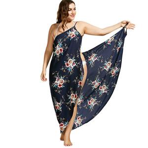 Wipalo Plus Size 2019 Tiny Flowers Beach Print 랩 Slip Dress Tunika Robe De Plage Women 사롱 Beach Beach Cover 5xl Y19071101