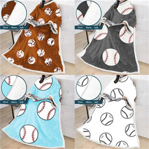 Adulte Lazy Blanket 3D Impression numérique Enfants Baseball Softball sport Couvertures de motif avec manches doux pour dormir 75jy H1