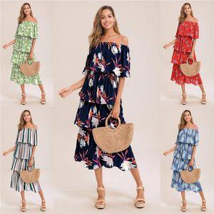 Wommens Designer lungo del manicotto della protezione abiti floreali stampati Stampa Ruffle lungo casuale abiti drappeggiati femminile Abbigliamento nuovo arrivo