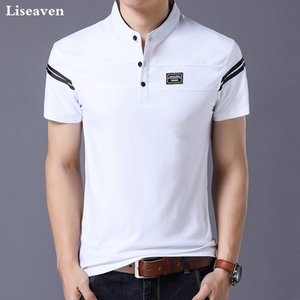 Camiseta de manga corta 2018 del collar del mandarín de la camiseta de los hombres de Liseaven remata tes masculino camisetas Hombres Ropa CX200617