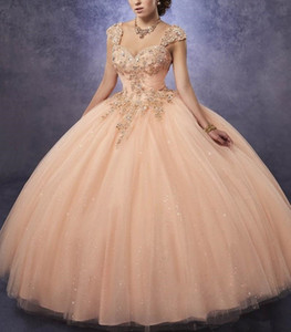 2020 Sparkling Tulle Quinceanera Dresses Ball Gown Sweetheart Neck Line Ruched Bodice With Lace and Beads Detachable Straps Girls Party Gow