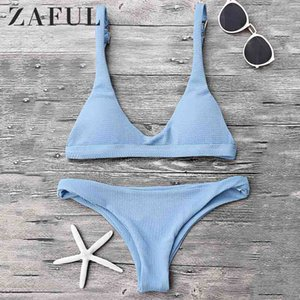 ZAFUL Bikini Swimwear Acolchoado Pescoço Da Colher Do Biquíni Set Push Up Sexy Cintura Baixa Terno de Natação Fio Livre Acolchoado Sólida Maiô 2019