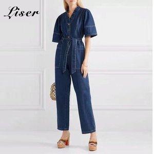 Liser 2020 new summer denim women jumpsuits overalls V-neck half sleeve high waist fashionable club celebrity party vestidos