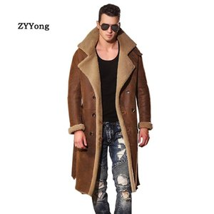 Warm Winter Sheepskin Trench Coat Men Leather Jacket Classic Fur Long Windbreaker Real Leather Coat Brown Clothing