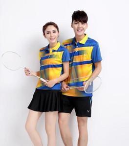 New Badminton t-shirt Jersey, 100% Polyester Feuchtigkeitsaufnahme, schnell trocknend Ventilation Sport Shirts, Tischtennis Wear Sets Freies Verschiffen
