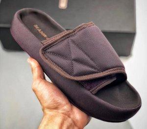 Top Quality Kanye Season 6 Nylon Slides Scuffs Men Women Memory Foam Slippers v2 350 boost