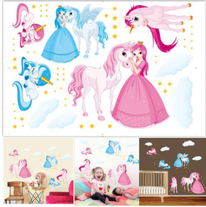 Magie Unicorn Cartoon Stickers Muraux Kid Chambre Decal Art Nursery Chambre Vinyle Décoration Licorne Princesse Sticker Decal