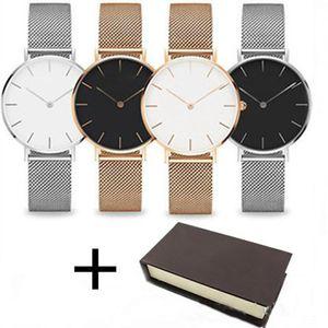 Moda in acciaio inox paio orologio 40 millimetri 36 millimetri 32 millimetri rosa oro acciaio maglia cintura semplici uomini e donne casuali braccialetto confezione regalo nastro regalo