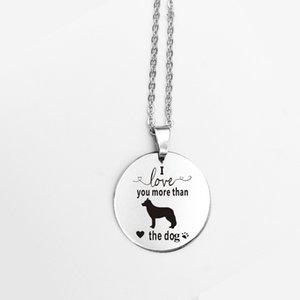 Edelstahl Runde Anhänger Halskette Mode Cartoon Hund Ich Liebe Dich Mehr als Der Hund Halskette Tier Schmuck