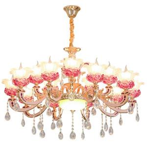 Zinc alloy European chandelier living room lamp Hotel lamps project lanterns romantic bedroom crystal light simple candle light