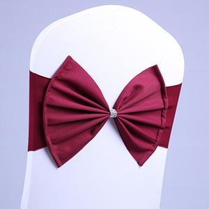 100Pcs Borgogna sedia colore fascia sedia SatinSash spandex di lycra bow tie bene per tutti albergo banchetto decorazione della festa di nozze sedie