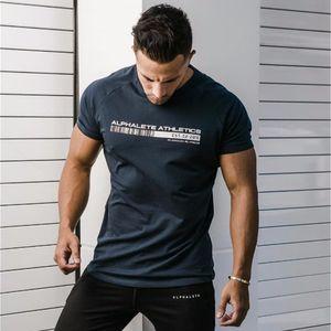 Yeni ALPHALETE Yaz Erkekler Kısa Kollu Spor Salonları T gömlek Spor Vücut Geliştirme Crossfit İnce Gömlek Moda Eğlence Pamuk Tee Tops