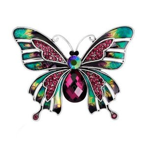 2019 New Style European and American Style Court Vintage Style Drop Oil Butterfly Pins Brooch