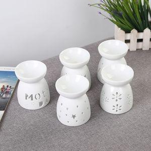 Ceramic Hollow Oil Burner Mini Aroma Lamp LOVE Flower Stars Light Shadow Essential Oil Diffuser with Tea Light Candle Holder S