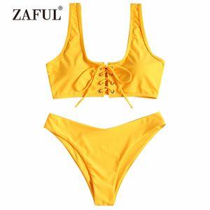 Zaful Colher Lace Up Biquíni 2018 Mulheres Swimwear Swimsuit Colher Pescoço Sólida Lace Up Bikini Acolchoado Set Biquni Maiô Mulheres Y19062901