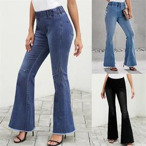 Wide Leg Holes Frauen Jeans lose hohe Taillen-Damen-lange Jeanshosen Designer Light Blue Jeans