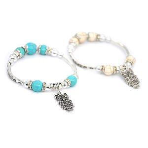 Natural turquoise beads bracelet owl single ring bracelet female bracelet accessories