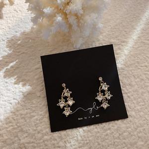 New Korean Zircon Earrings Crystal Five-pointed Star Tassel Dangle Earring For Women CZ Irregular Wedding Jewelry Party Gift