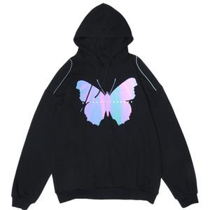 Reflective Print Hooded Sweatshirts Hoodies Streetwear Men Hip Hop Casual Pullover Tops black Hoodie Hipster