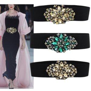 Preto Elástico cinto com diamantes Big estende por todo Jogo de vestidos Blusas Tops saia Feminino 2020 Mulheres Moda Trending