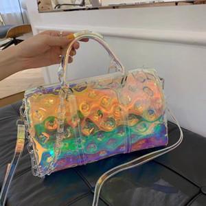 Мода красочных лазерные сумки 2020 новых печати прозрачных крупнотоннажные спортивных сумок дорожные сумки на короткие расстояния