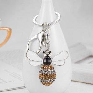 Charms creativo di cristallo strass Bee Honey portachiavi portachiavi Donne Bag Car Holder Trinket chiave regali ciondolo di Natale