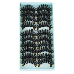 10 Paires / lot 3D Doux Faux Vison Cheveux Faux Cils Naturel Désordre Cils Crisscross Wispy Fluffy Cils Extension Maquillage Des Yeux Outils