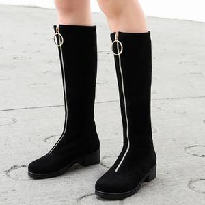 La venta caliente Moda Zip Up Zapatos Botas mujer hasta la rodilla zapatos al por mayor de invierno Mujer ecuestre Botas