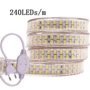 Led Light Strip 240leds Duplo Row 220V 110V SMD 5730 Fita flexível 5730 Crystal Clear PVC Tubing para Durable Use e brighte Poder