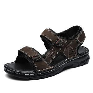 2020 Hot Sale Hiking Men Sandals Summer Beach Sneakers Mens Hook & Loop Men Leather Sandals Black Brown Trekking