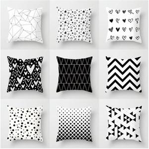 Geométrico blanco y negro decorativo fundas de poliéster tiro amortiguador de la cubierta Funda de almohada rayada geométrica almohada del sofá