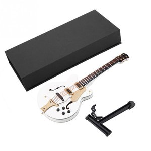 5.5in White Miniature Electric Guitar Replica with Box Instrument Model Ornament Christmas Gift Home Decore Figurines Tools