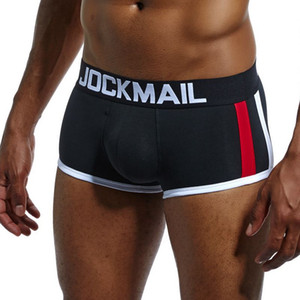 JOCKMAIL Marca atractiva de los hombres la ropa interior acolchado hombres boxeador del bombeo Mejora Boxershorts Gay empuje de la recepción extraíble Hasta Copa