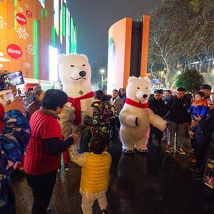 Festival parata gonfiabile polari costumi bella famiglia orso Club party danzante gonfiabile orso polare coppie costume