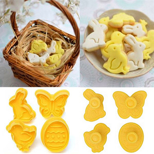 4Pcs set Easter Bunny Pattern Plastic Baking Mold Kitchen Biscuit Cookie Cutter Pastry Plunger 3D Die Fondant Cake Decorating Tools