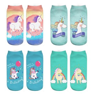 RUNNING CHICK Unicorn collection 3d print ankle socks women 2018 new wholesale drop shipping
