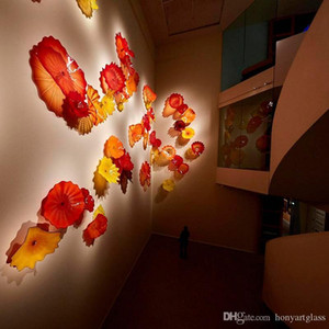 Mouth Blow Glass Wall Art Dale Hand Blown Hanging Plates Flower Orange Red for Hotel Decoration Kids Room Ideas