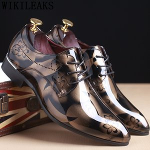 Chaussures pour Pointu Coiffeur Hommes Party Chaussures Homme Formal Chaussures Oxford Homme élégant brevet robe de mariée en cuir noir Big Taille Bona