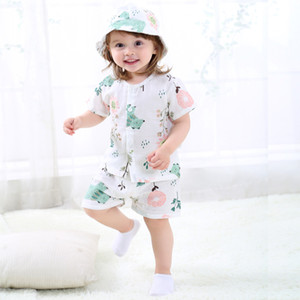2019 spring and summer new children's double gauze thin section short sleeve suit infant cotton home service air conditioning service