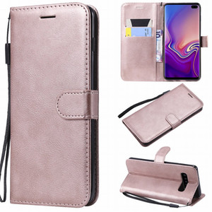 Luxury Simple Solid Color Case For Frame Samsung Galaxy S10E S10 S9 S8 Plus S7 Edge Card Slot Lanyard Phone Cover New Funda P06Z