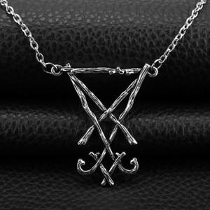 Plata de la vendimia del demonio lado de Lucifer Satanás colgante collar sello Sigil Símbolo de la cadena del collar del Choronzon pagana gótica joyería